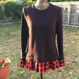 Sweaters - Ruffle Flannel Sweatshirt